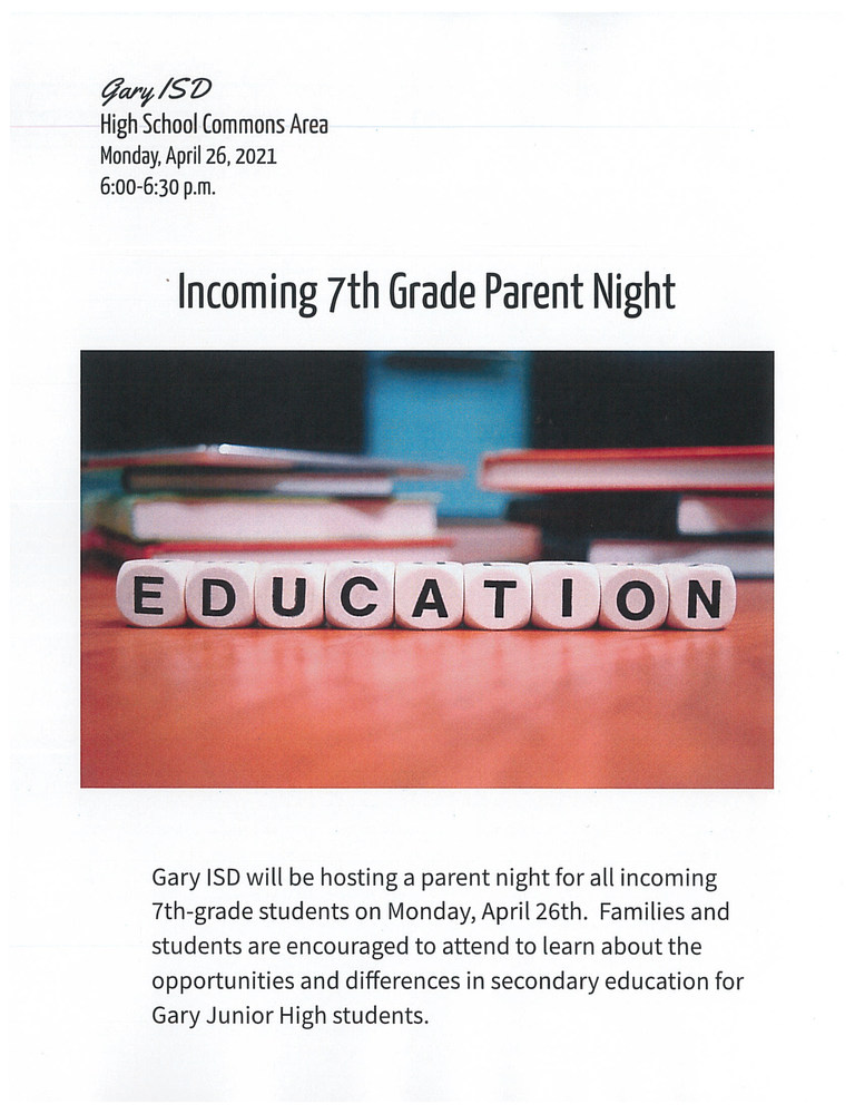 Incoming 7th Grade Parent Night