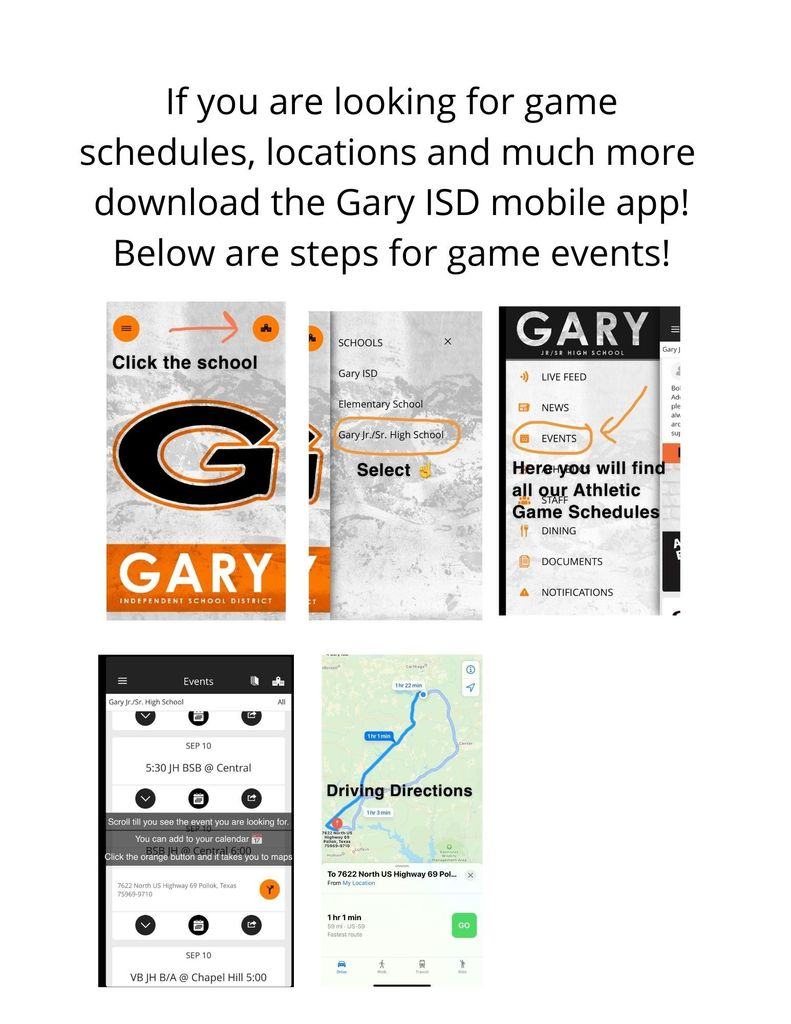Gary ISD APP Game Information