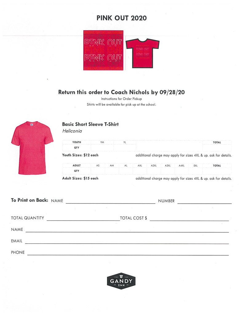 2020 Pink Out Shirt